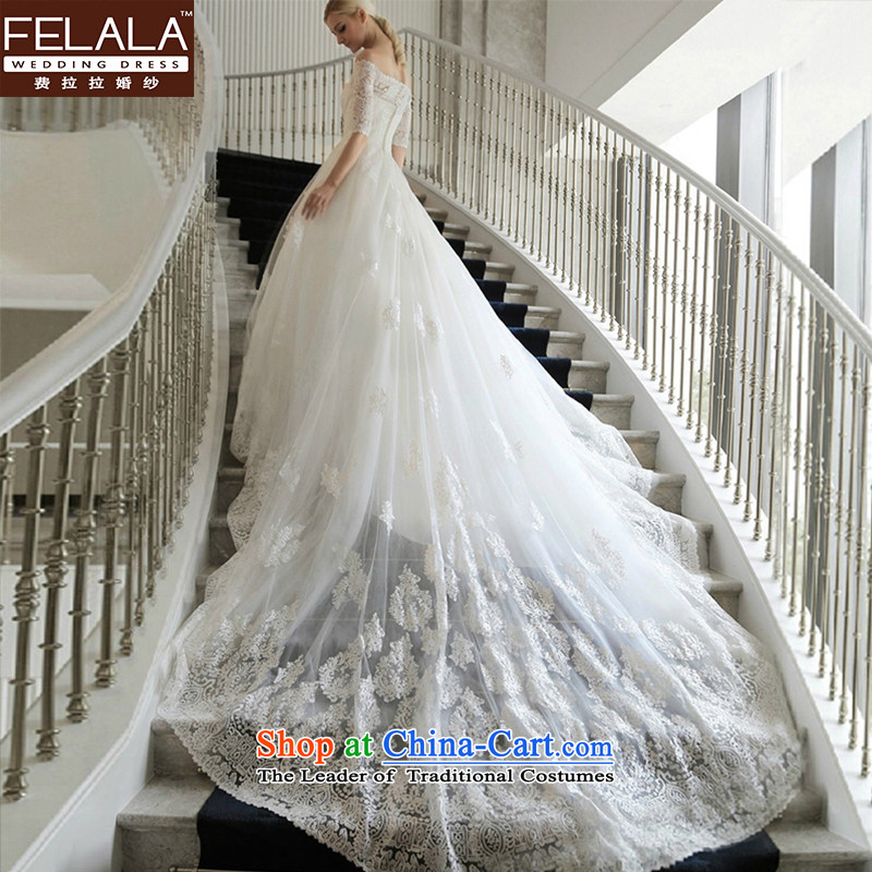 Ferrara wedding word shoulder graphics thin wedding Tail_align to wedding dress winter wedding married to align the new bon bon skirt聽L_2 trailing foot 1_