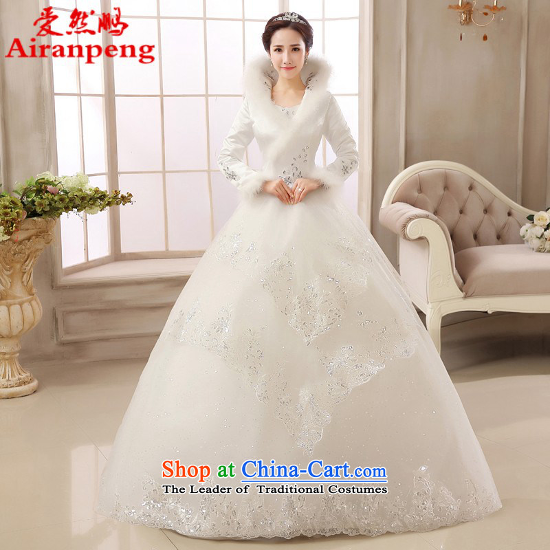 2015 new marriages wedding dress winter long-sleeved lace thick warm autumn and winter, align to Sau San female?XXL package returning