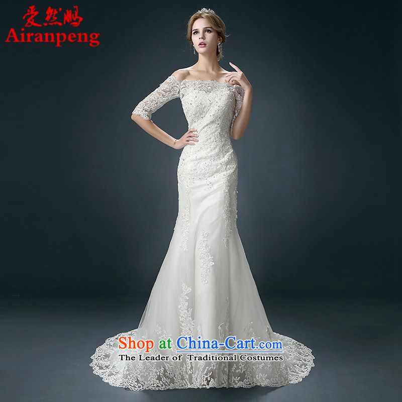 Wedding dress 2015 new Korean Foutune of Sau San bride crowsfoot wedding word shoulder tail graphics thin small winter will not be returning Size