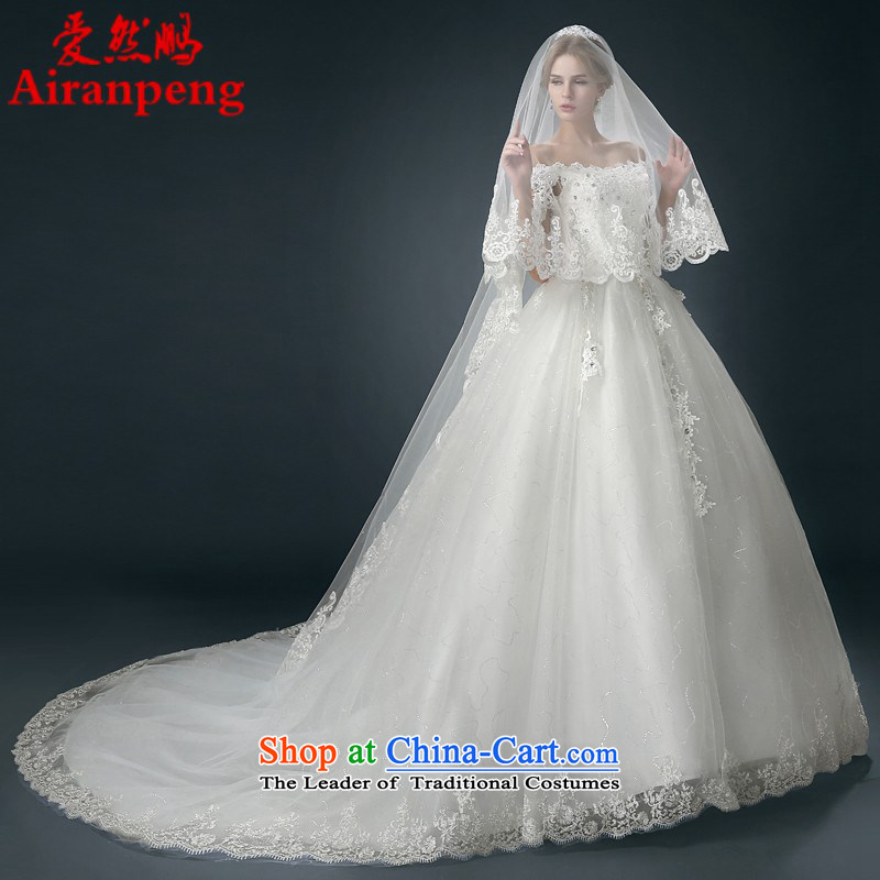 Wedding dress 2015 winter new bride tail wedding word shoulder Korean shoulders to align the large graphics thin聽XXL package returning