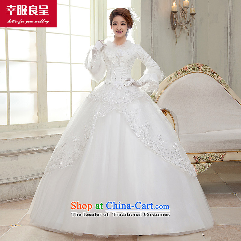 The privilege of serving-leung 2015 winter new bride wedding dress long sleeved shirt with white graphics to align the thin wedding dress for winter White�2XL