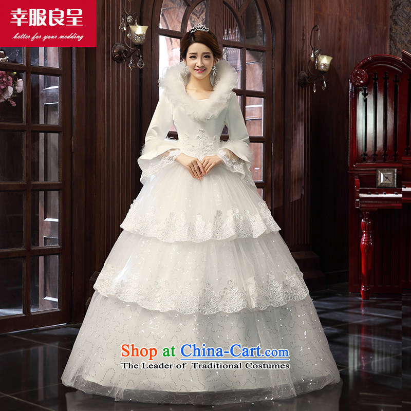 The privilege of serving-leung winter wedding new Korean brides wedding dress long-sleeved long alignment to Sau San white wedding dress White 2XL