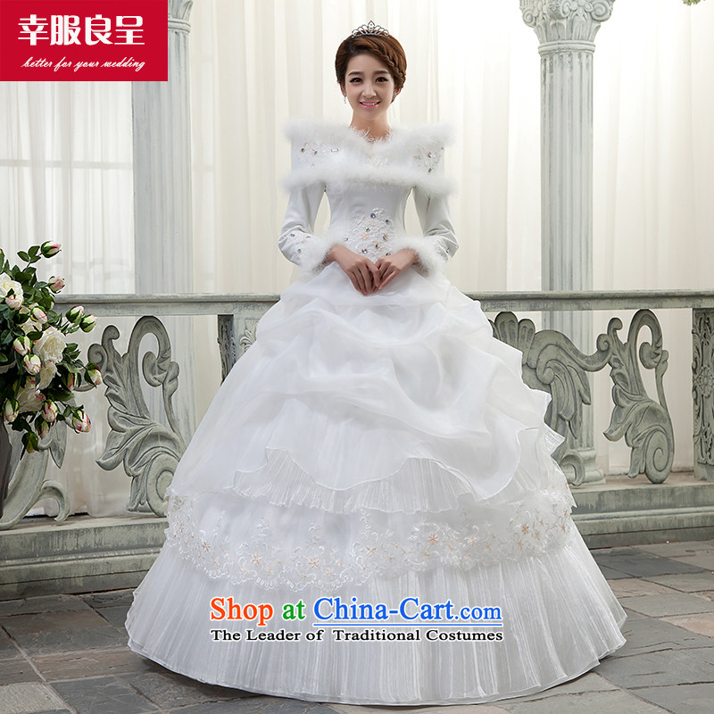 The privilege of serving-leung wedding dress dresses winter new bride wedding dress long-sleeved slotted shoulder to align graphics thin white?S