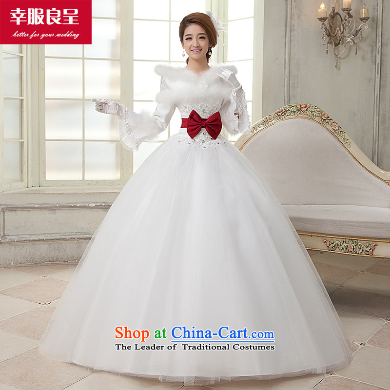 The privilege of serving-leung winter wedding dresses new Korean brides wedding dress winter clothing to align the long-sleeved long white wedding dress White M