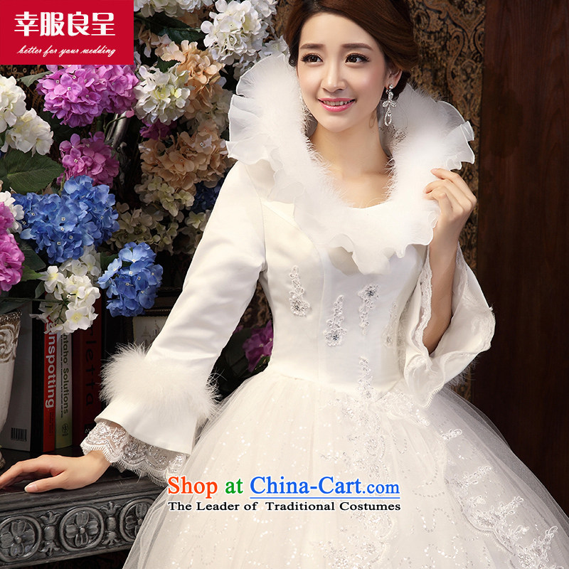 The privilege of serving-leung wedding dress winter new Korean to align the lace video thin wedding dress bride wedding dress White 2XL