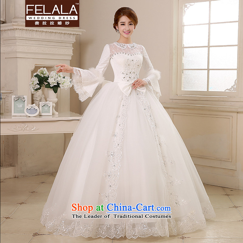 Ferrara Winter 2015 new wedding dresses and cotton waffle long-sleeved winter wedding winter, wedding winter?M(2 feet)