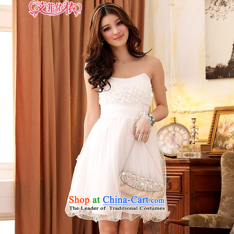 Of the?Korean version of the new 2015 reft of short of marriage bridesmaid auspices wedding fashion beads sister Princess Mary Magdalene chest small charming dress bon bon skirt 3753 white are code