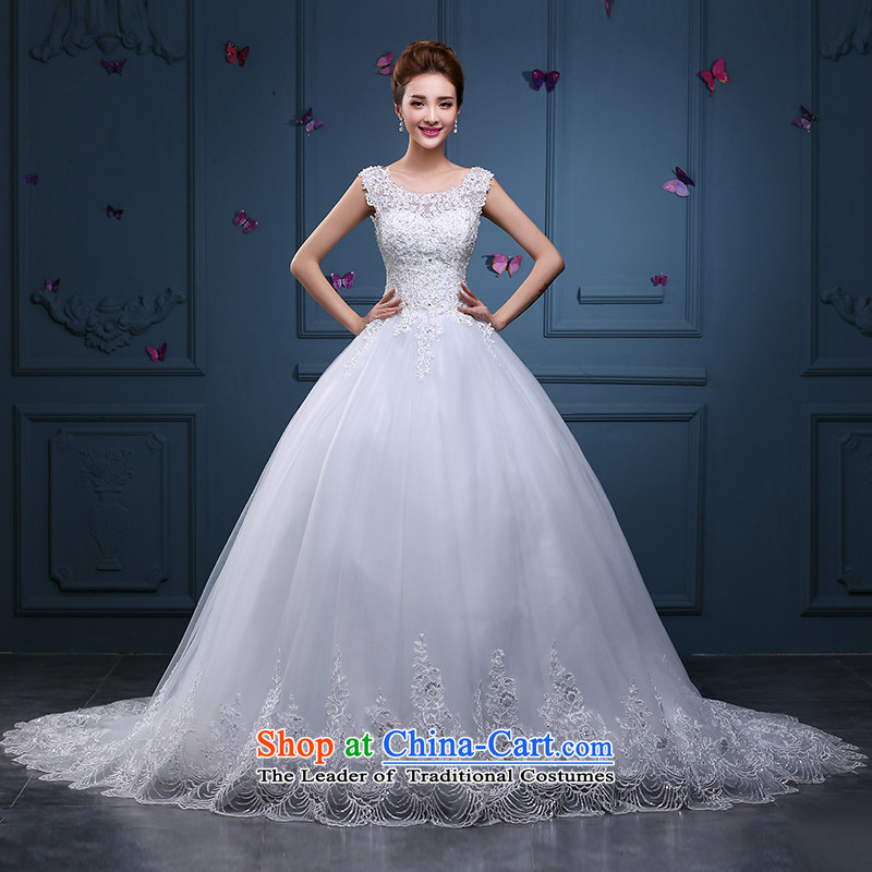 Tim hates makeup and 2015 New wedding dress winter marriages wedding tail wedding lace large wedding dresses HS012 White?XXL