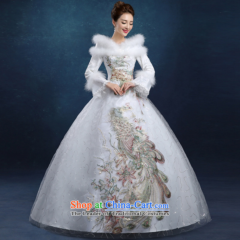 Tim hates makeup and 2015 New Winter wedding dresses warm long-sleeved wedding dresses folder cotton wedding winter marriage wedding lace wedding HS014 white?S