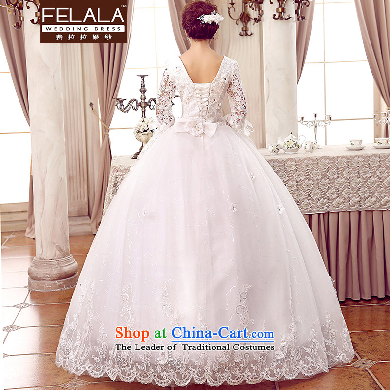 To align the new 2015 round-neck collar lace flowers horn cuff wedding M(2 feet), white Ferrara wedding (FELALA) , , , shopping on the Internet