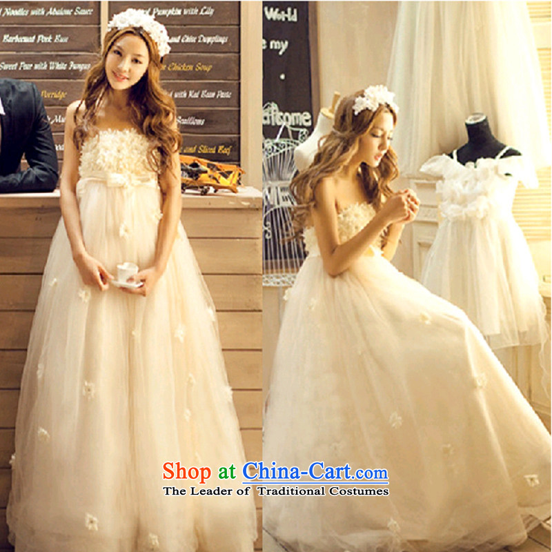 Seal Jiang pregnant women wedding dresses 2015 winter new Korean Top Loin of winter pregnant women and wedding chest to bride wedding dress Winter Female champagne color S