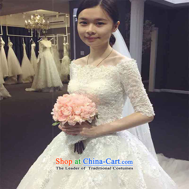 The new long tail wedding dresses word marriages shoulder wedding long-sleeved large tail Sau San white?S