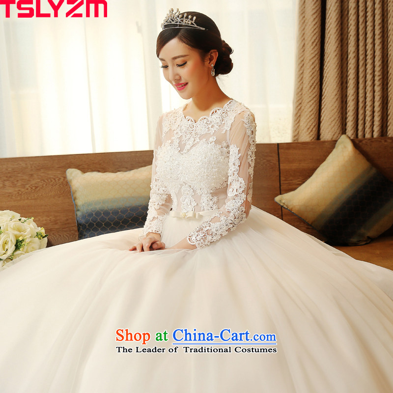 Long-sleeved tslyzm wedding dresses to align the new lace 2015 autumn and winter marriages went out of the back Korean retro bon bon skirt white?L