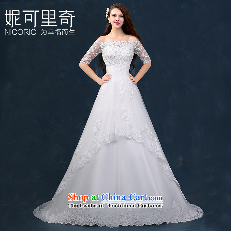 Wedding dress 2015 new word winter shoulder wedding tail lace in cuff straps Foutune of Sau San Custom White?XL