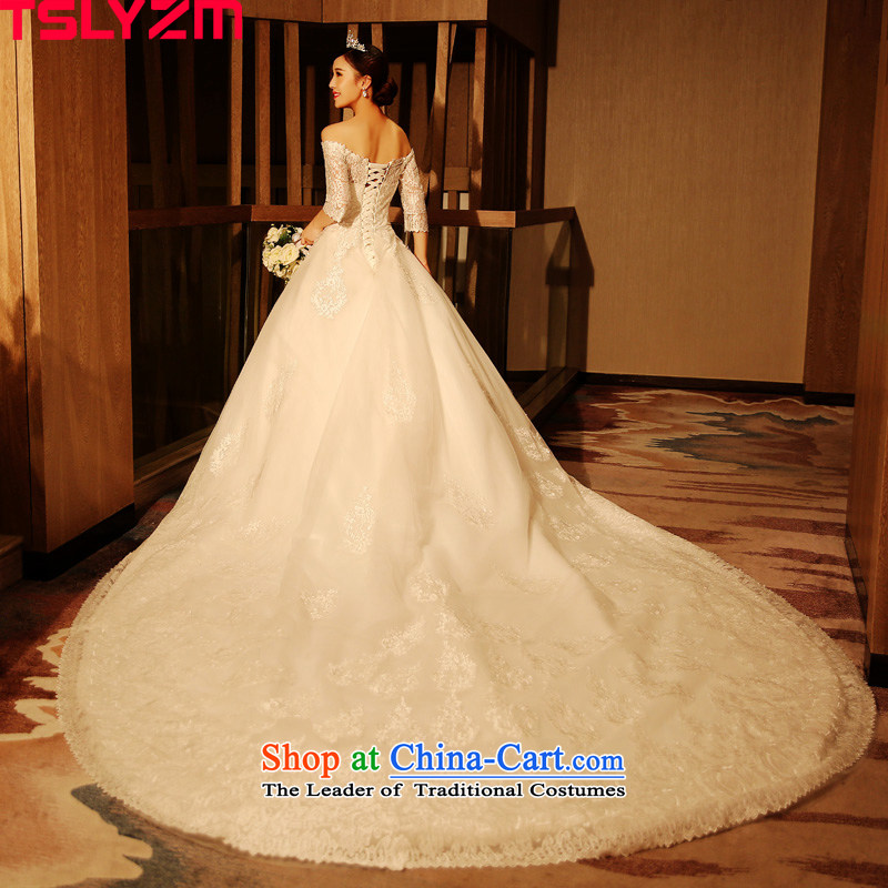 The first field in the shoulder tslyzm cuff wedding dresses large tail new 2015 autumn and winter marriages Deluxe Korean lace twine bow knot tail)?L