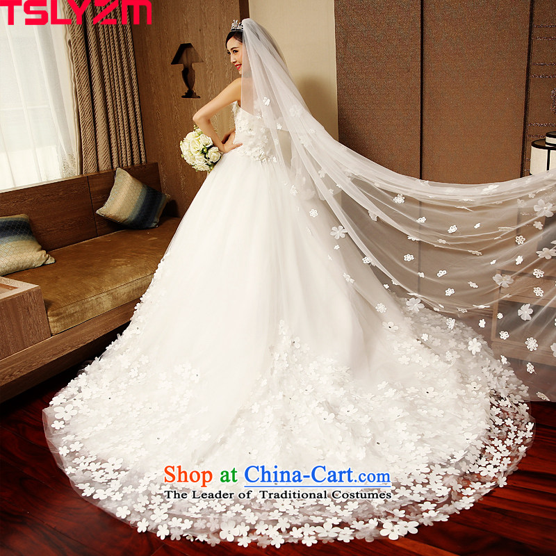 Wipe the chest long drag tslyzm tail wedding dresses new marriages of autumn and winter 2015 Korean style wedding dress White?XXL Petals