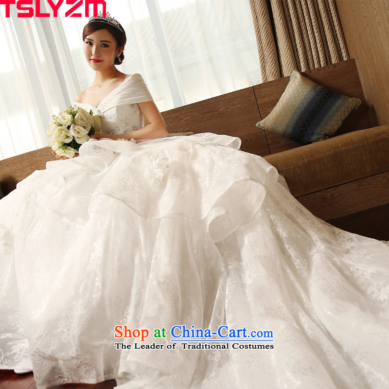 The word tslyzm shoulder wedding dress large tail bride Wedding 2015 new autumn and winter marriage continental palace retro luxurious White XXL