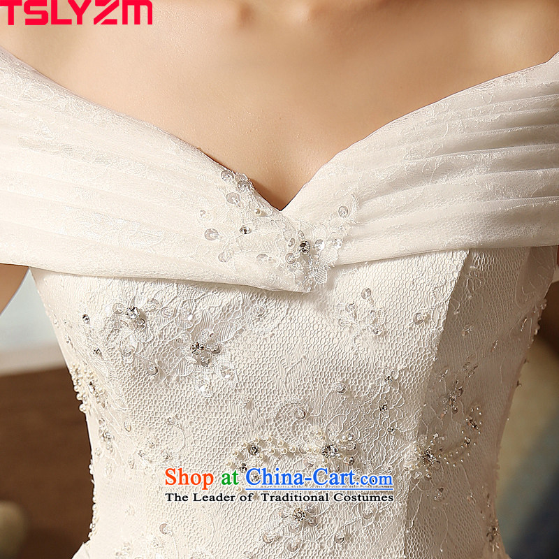 The word tslyzm shoulder wedding dress large tail bride Wedding 2015 new autumn and winter marriage continental palace luxurious white Xxl,tslyzm,,, antique shopping on the Internet
