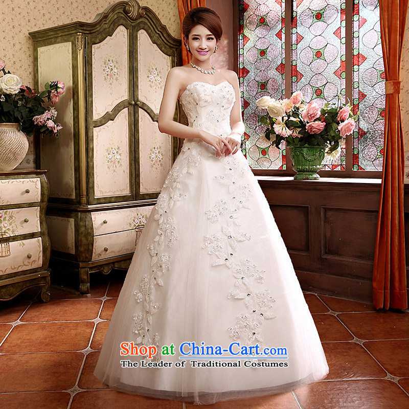 The Syrian Arab Republic?2015 autumn and winter time new embroidery wedding dresses Korean lace shoulder straps and chest with minimalist marriage A swing bride wedding White?M