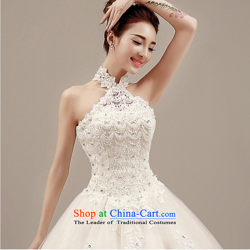 Wedding dress autumn 2015 new Korean Word Hangs must also shoulder the winter wedding tail align to marriages video thin elegant hanging also manually beaded water drilling White M