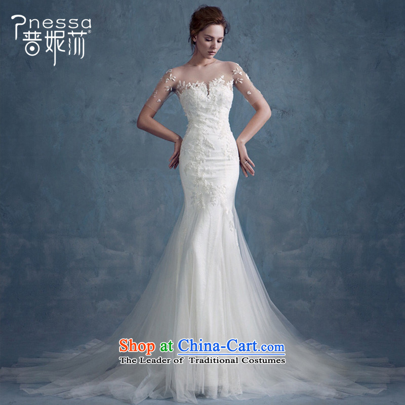 The Republika Srpska divas crowsfoot bride wedding dresses winter 2015 Korean-style New tail and chest wedding shoulders Foutune of Sau San FLOWER WHITE L