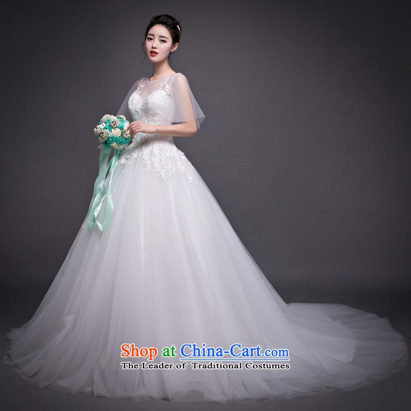 Blooming crazy bride wedding personality Korean tail wedding word shoulder wedding dress out of white聽M _
