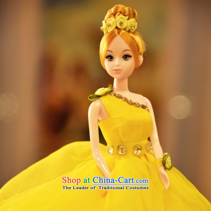 Stylish disk sent diamond wedding Barbie doll bon bon skirt Barbie dolls girls girlfriend toys birthday gift wedding ornaments yellow 56 cm petticoats diameter 44 cm ,DRESSILY OCCASIONS ME WEAR ON-LINE,,, shopping on the Internet