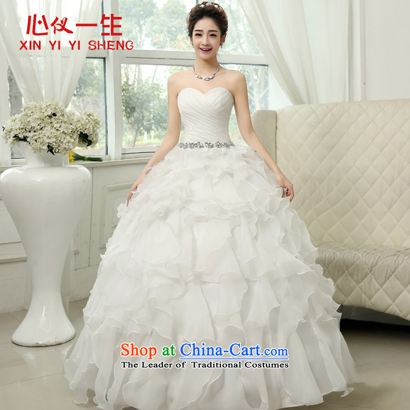 On the first of the wedding dress 2015 new Korean wiping the chest straps V-neck to align the wedding autumn and winter marriages wedding white?L