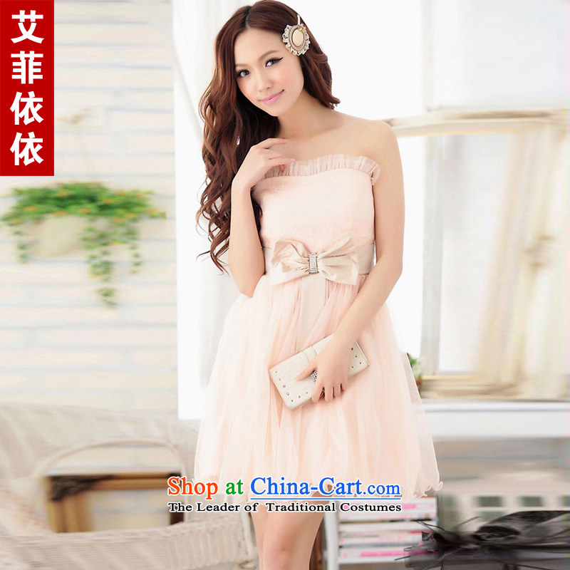 Of the?2015 Korean glued to the new women's short of married women under the auspices of wedding Princess Mary Magdalene chest lace lace bow tie cute little dress skirt 3761st apricot?L