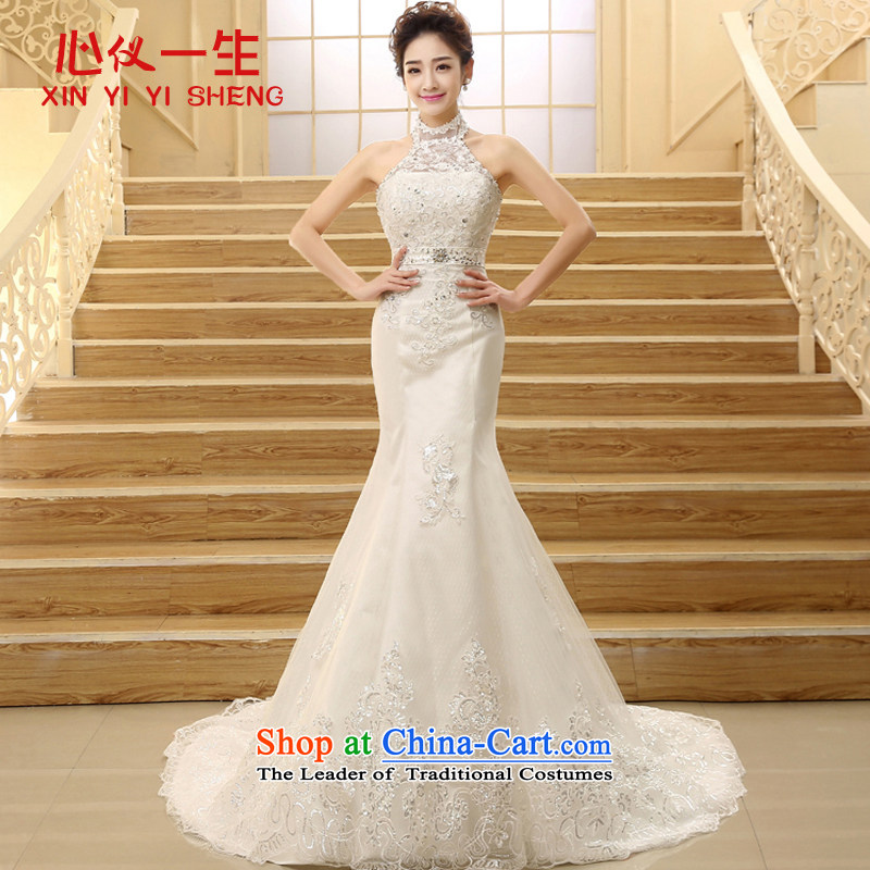 On the first of the wedding dress?2015 new spring Korean lace straps for larger video thin dress Hang Sau San also crowsfoot long tail wedding White?XL