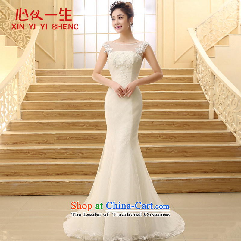 On the lifetime bride wedding dresses 2015 autumn and winter new word shoulder lace small trailing crowsfoot wedding packages   shoulder straps wedding white?L