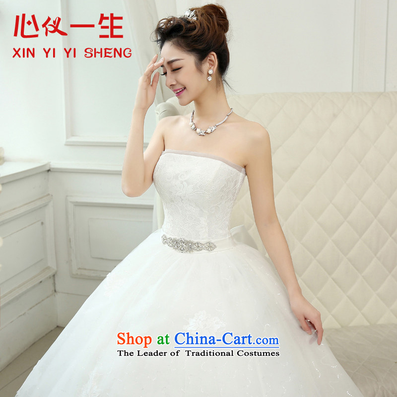 On the first of the wedding dress 2015 new Korean lace anointed chest straps to wedding marriages Sau San video thin wedding White聽XXL