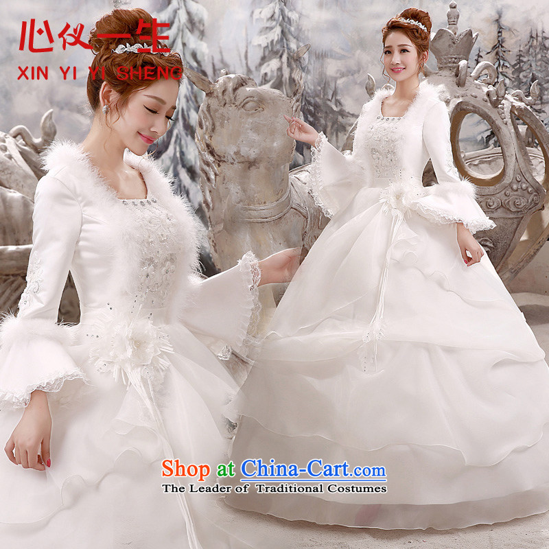 A Heart Is winter wedding dresses 2015 New Korea long-sleeved pullover, align the code word bride wedding shoulder strap for autumn and winter, white wedding white�L