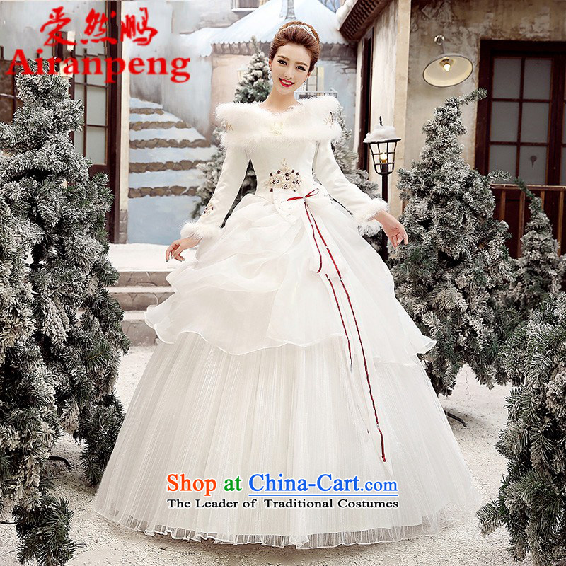 Wedding dresses new 2015 winter version won thin marriages wedding long-sleeved plus cotton winter, bon bon skirt the?need to do not XXXL returning