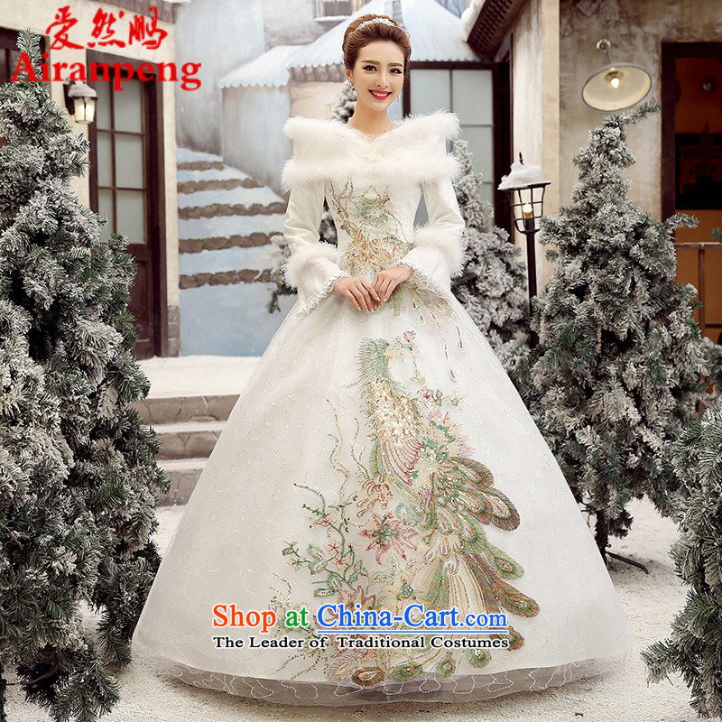 Wedding dress 2015 autumn and winter to align the new thick Korean brides for the winter of gross wedding word long-sleeved White?XXL package returning shoulder
