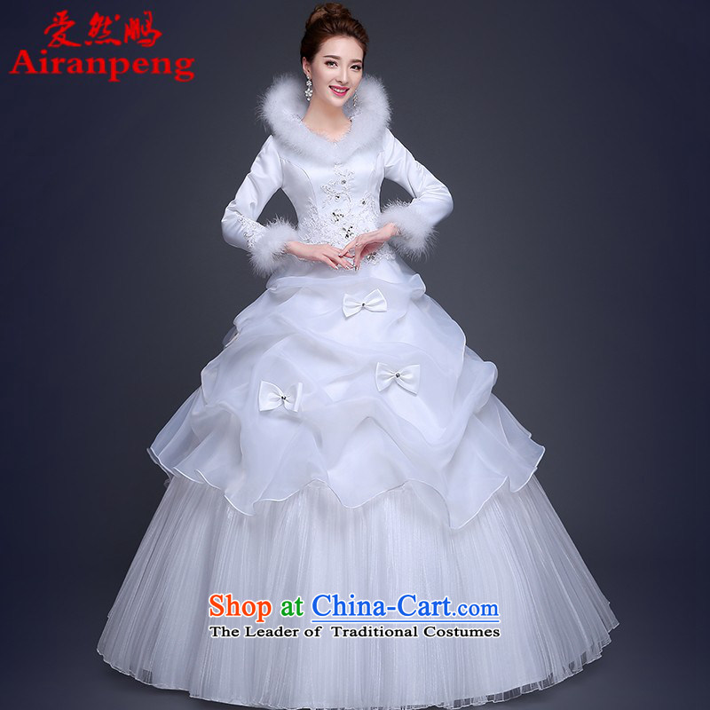 Wedding dress 2015 winter new Korean Word Graphics thin to thick long-sleeved your shoulders bride dress winter,?XXL package girl returning