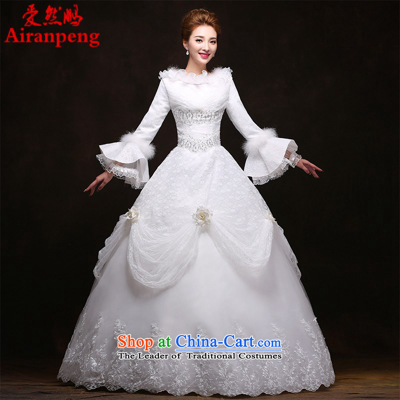 Wedding 2015 new long-sleeved thick winter wedding dress bride winter jackets to align the word winter shoulder wedding made no refunds or exchanges Size