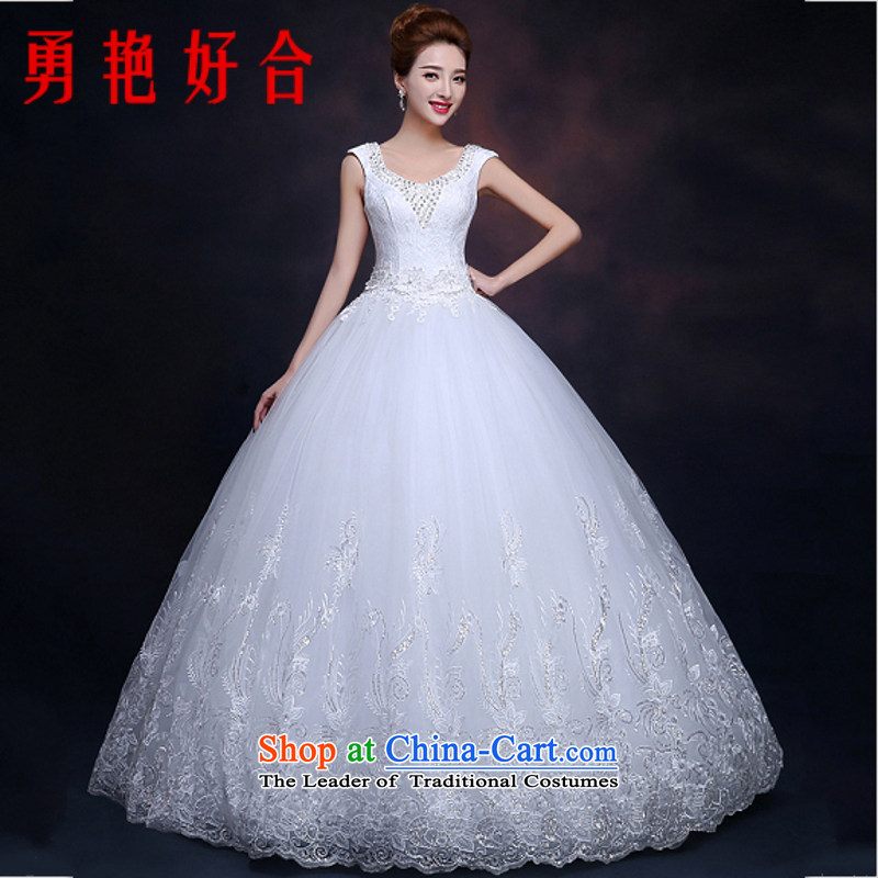 Yong-yeon and shoulders wedding dresses bon bon skirt the new 2015 White Lace Princess Bride straps to align the wedding White聽XL