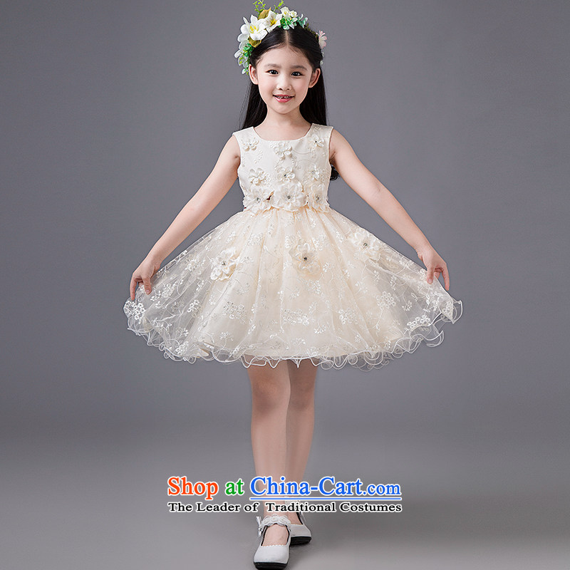 Tim hates makeup and children dress girls take children's wear skirts Princess Children Dance skirt short skirt dresses piano performances of children skirt parent-child replacing evening dresses HT5089 champagne color?120cm