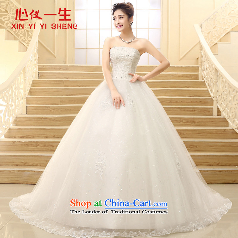 On the Korean version of a lifetime and chest straps lace large tail Wedding 2015 New Princess bon bon skirt video thin wedding of autumn and winter wedding White?XL