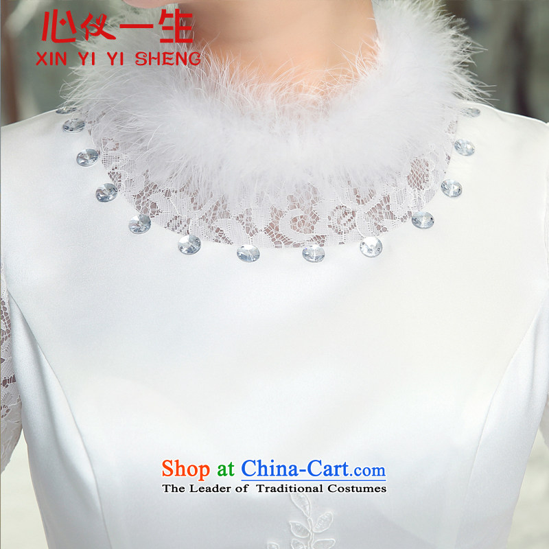 On the first of the wedding dress 3015 new winter plus cotton long-sleeved to align bon bon skirt wedding fashion horn cuff warm winter clothing marriages wedding White XL, heart is a lifetime (xinyiyisheng) , , , shopping on the Internet