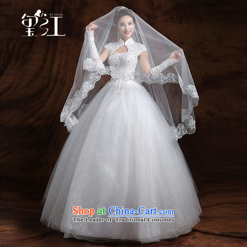 Jiang wedding dresses seal 2015 winter new Korean marriages wedding dresses white lace package shoulder straps for larger to align the princess bon bon skirt video thin white聽M _