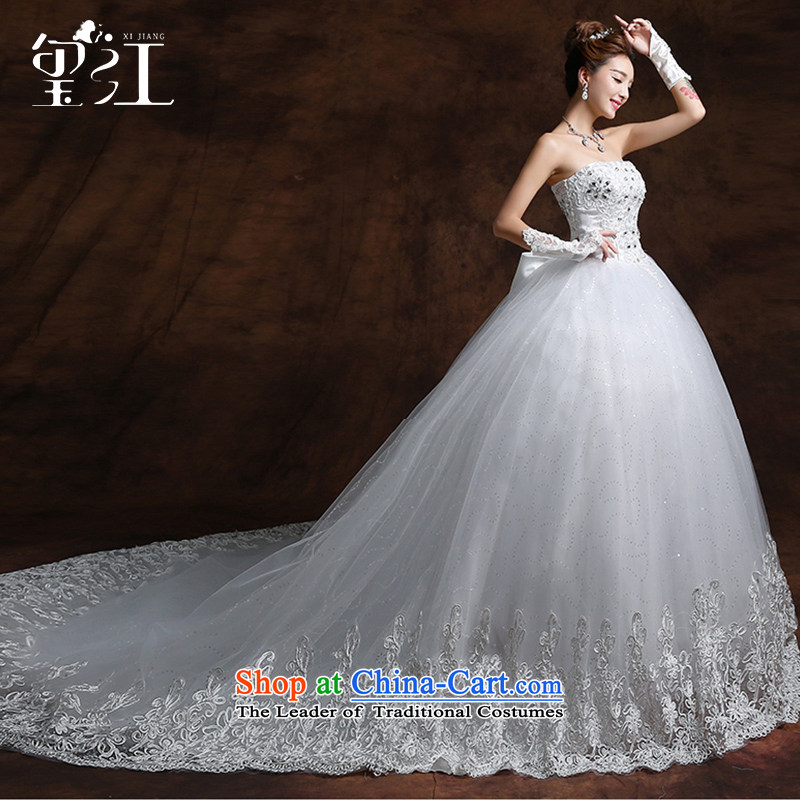 Seal Jiang wedding dresses winter wedding dress Korean bridal fashion and chest parquet drill large tail white lace wedding code strap Sau San video thin white 2m tail聽S
