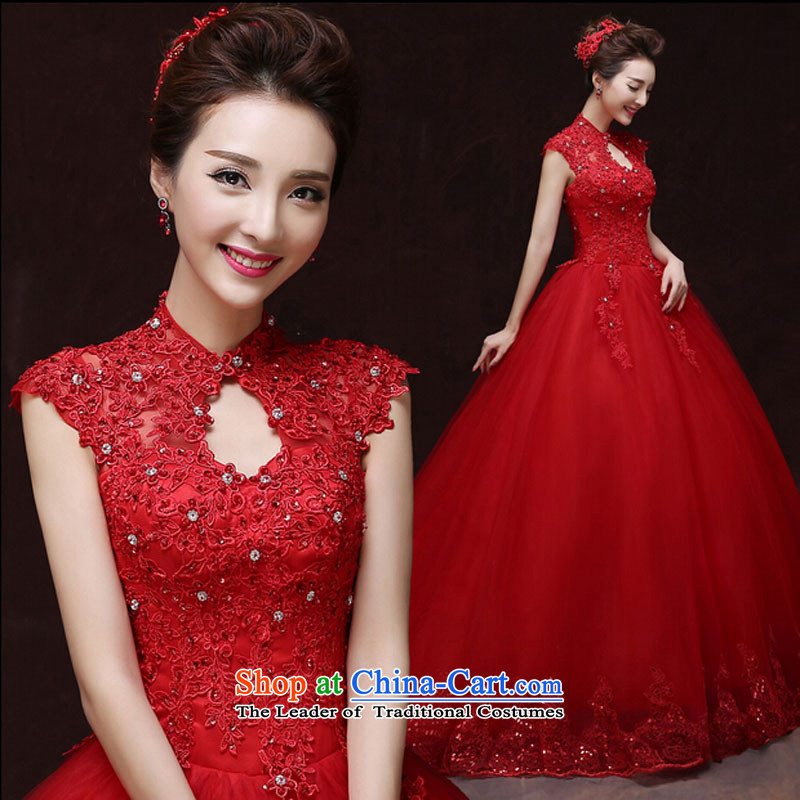 Pure Love bamboo yarn wedding dresses new 2015 Autumn shoulders a wedding wedding package field shoulder shoulder lace bride tail straps wedding red S