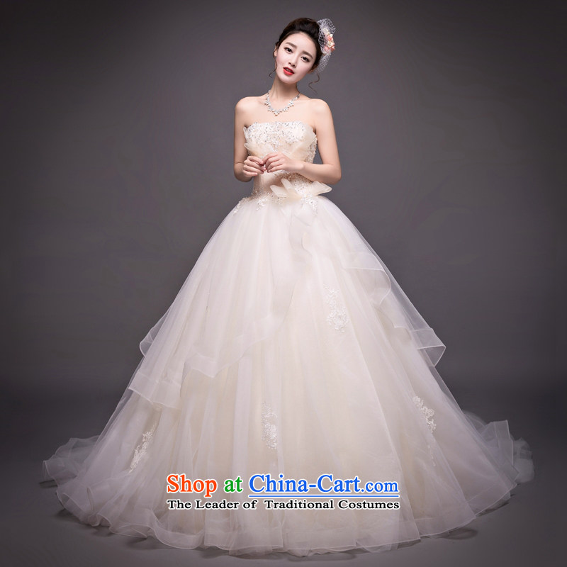 Champagne color tail wedding Korean anointed chest water drilling wedding dress stylish out of Sau San champagne color�XL
