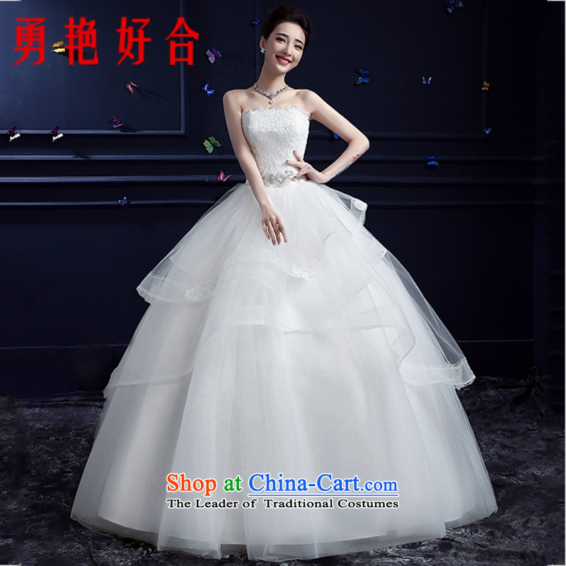 Yong-yeon and wedding dresses new 2015 autumn and winter marriages large stylish and chest straps to Korea with minimalist White XL