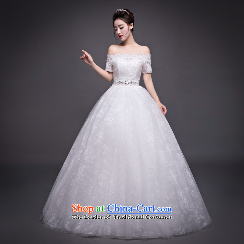 Winter, wedding a field to align the shoulder Korean skirt wedding fashion bride diamond jewelry out of Sau San yarn White�M
