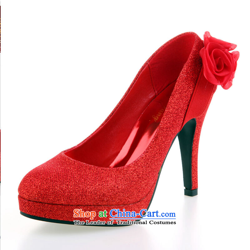 Pure Love bamboo yarn upscale bride marriage shoes high heels ...