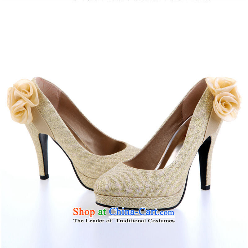 Pure Love bamboo yarn upscale bride marriage shoes high heels bride new marriage wedding dresses qipao marriage shoes comfortable fit Red Gold Golden聽35