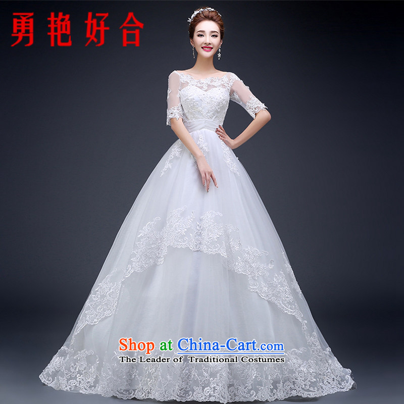 Yong-yeon and wedding dresses new Word 2015 shoulder tail Korean marriages wedding with thin video   cuff autumn and winter White XXL